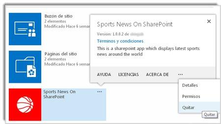 Captura de pantalla del comando Quitar en el globo de propiedades de una aplicación.