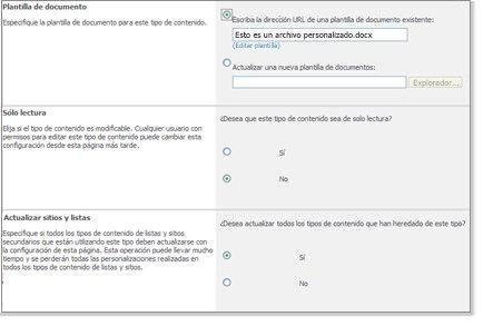 Configuración avanzada de tipos de contenido de sitio