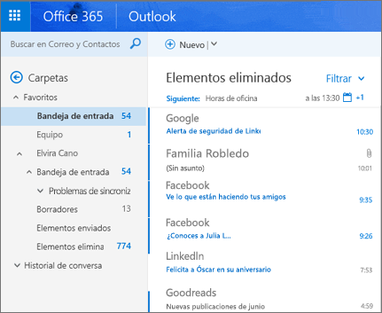 Vista principal de Outlook en la web