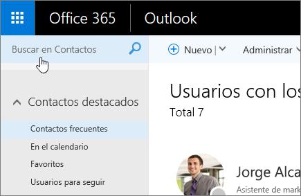 Captura de pantalla de la pantalla Contactos, con el cuadro Buscar en Contactos seleccionado.