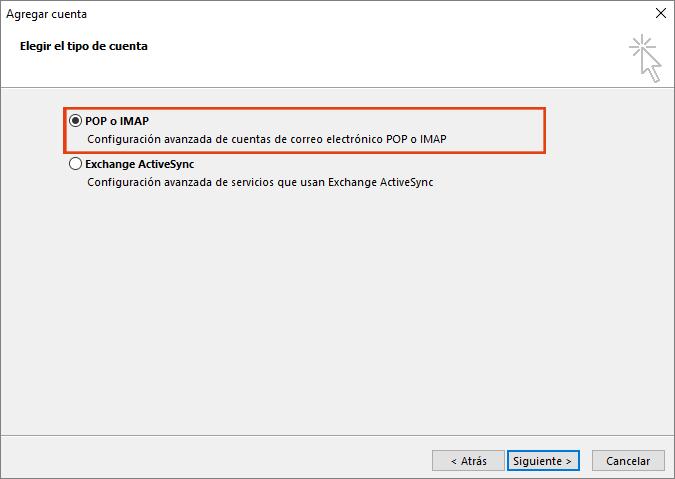 Opción de servicio compatible con Exchange ActiveSync, Outlook.com, Servicio de elección de agregar cuenta a Outlook