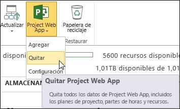 En la cinta, haga clic en Project Online y, a continuación, en Quitar.