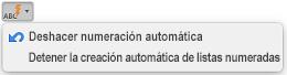 Botón de Autocorrección con opciones de numeración automática visibles