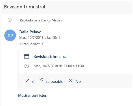 Captura de pantalla de una invitación de reunión enviada a un delegado