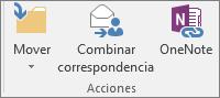El botón Combinar correspondencia se encuentra en la pestaña Inicio del grupo Acciones.
