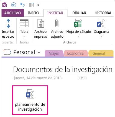 Insertar un icono de un archivo de Visio en una página