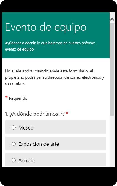 Previsualizar en modo de dispositivo móvil para un formulario de encuesta de clase