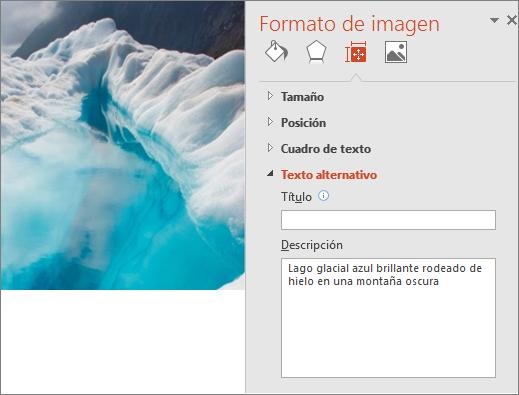 Nueva imagen de un lago congelado con el cuadro de diálogo de Formato de imagen mostrando un texto alternativo mejorado en el campo Descripción.