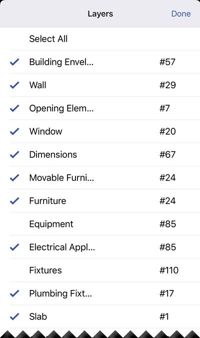 Vea una lista que muestra todas las capas de formas en el diagrama actual.