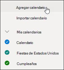 Captura de pantalla que muestra cómo agregar un calendario