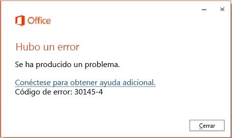 Código de error 30174-4 al instalar Office