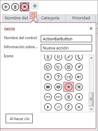 Cuadro de diálogo Datos de una acción personalizada en una hoja de datos web