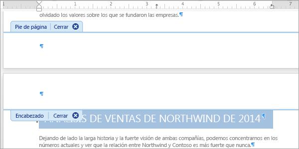 Haga doble clic en un área de encabezado o pie de página para abrirlo y modificarlo.