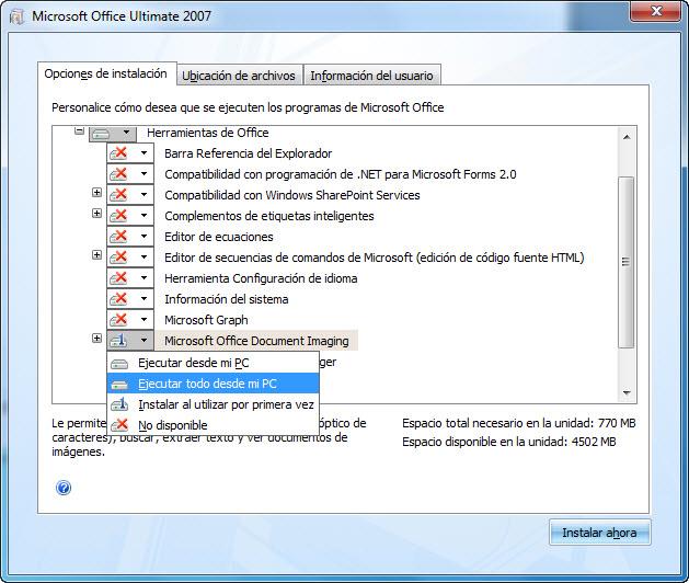 Captura de pantalla mostrando la ubicación de MODI durante la instalación de 2007 Office system: