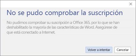 """Captura de pantalla del mensaje de error """"No se pudo verificar la suscripción"""""""