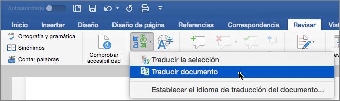 Pestaña Revisar con la opción Traducir documento resaltada