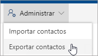 En la barra de herramientas, seleccione Administrar y, a continuación, Exportar contactos.
