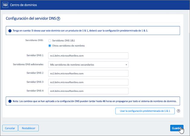 Haga clic en Guardar en la página Configuración del servidor de nombres