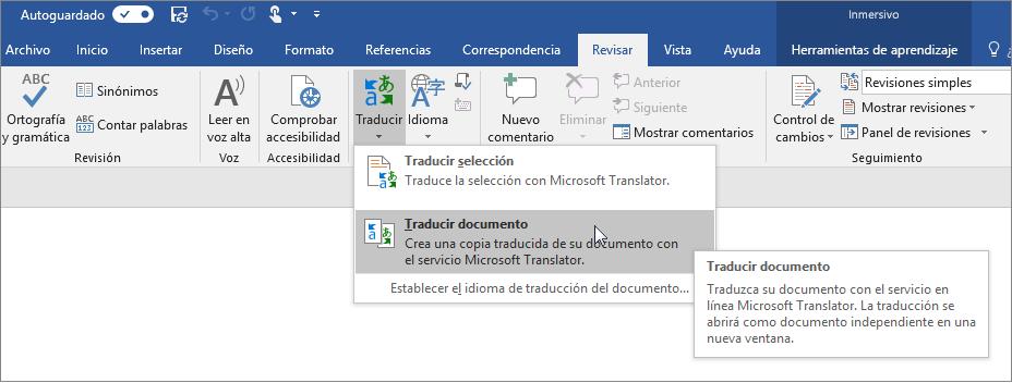 Cinta de Word con la opción Traducir documento