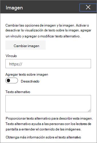 Cuadro de herramientas del elemento Web imagen