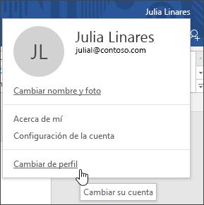 Captura de pantalla que muestra cómo cambiar entre cuentas en una aplicación de escritorio de Office