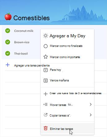 Captura de pantalla que muestra la opción para eliminar tareas en el menú contextual