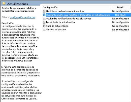 Actualizaciones de configuración de directiva de grupo