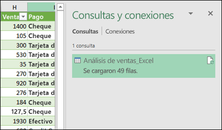 Panel de consultas y conexiones de Power Query