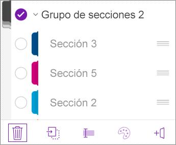 Eliminar un grupo de secciones en OneNote para iOS