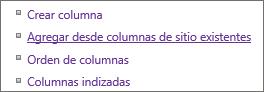 Cierre del vínculo Agregar columna existente en Configuración página