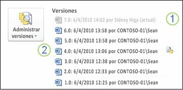 Historial de versiones en la vista Backstage de un documento de Microsoft Word