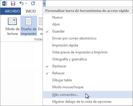 Menú de la barra de herramientas de acceso rápido