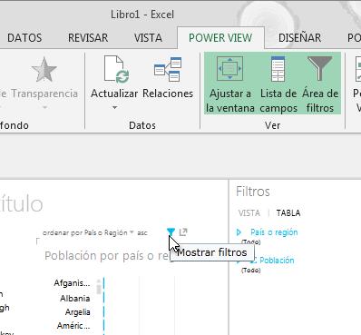 el icono Filtros aparece cuando se coloca el cursor sobre una visualización de Power View