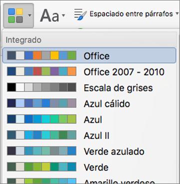 Opciones de color al hacer clic en el botón colores