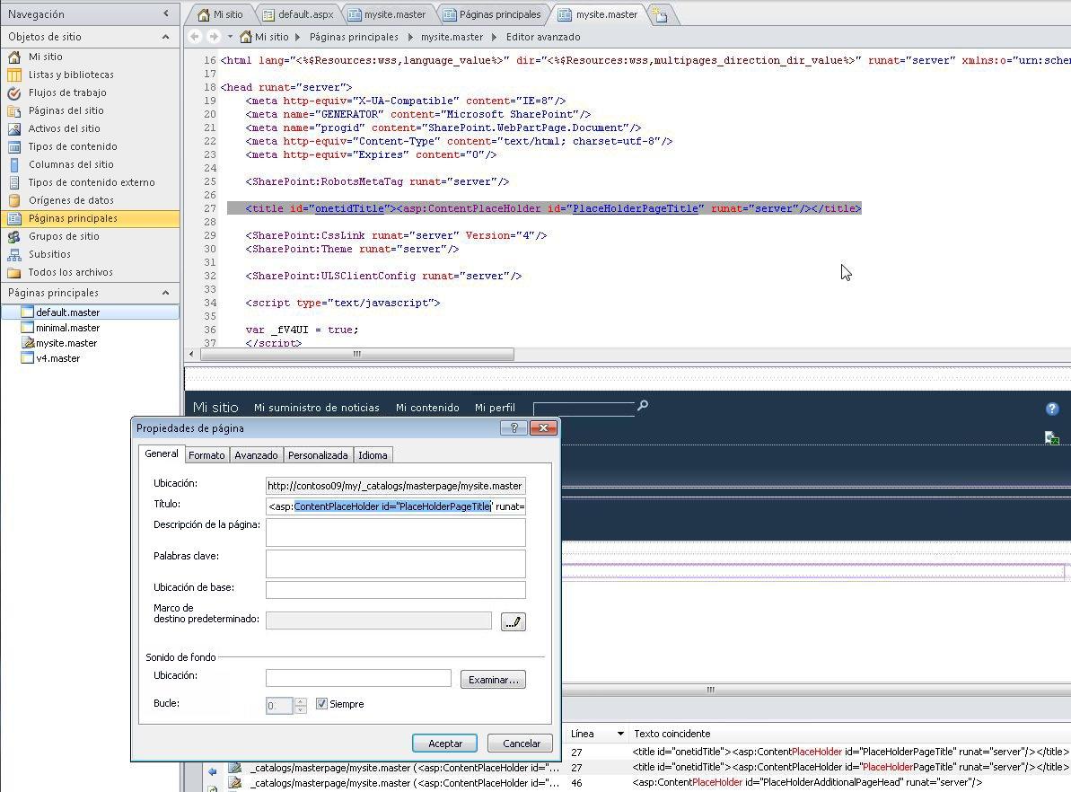 Al abrir la página maestra de Mi sitio, puede editar el archivo y sus propiedades.