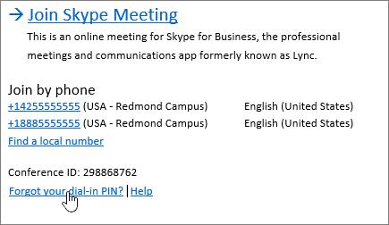 Unirse a la reunión de Skype de SFB