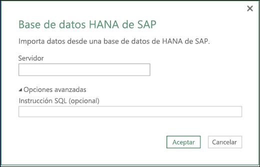 Cuadro de diálogo Importar para Base de datos SAP HANA en Power BI para Excel