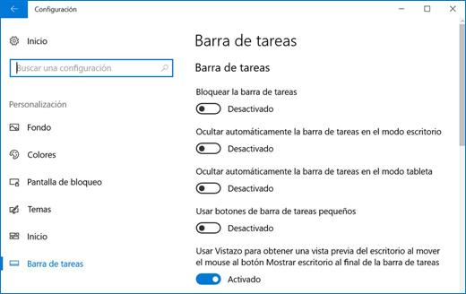 Configuración de la barra de tareas