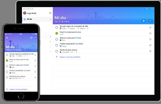 Lista Mi día de Microsoft To-Do en un iPhone y un dispositivo Surface