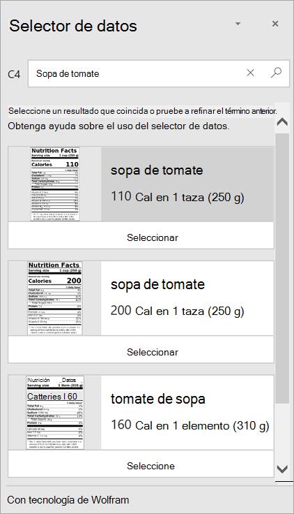 """Captura de pantalla del selector de datos en la que se muestran varios resultados de """"Sopa de tomate""""."""