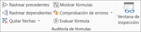 Grupo Auditoría de fórmulas de la pestaña Fórmula