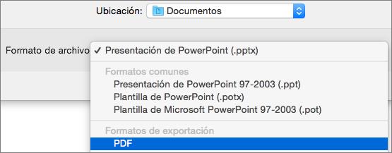 Muestra la opción de PDF en la lista de formatos de archivo en el cuadro de diálogo Guardar como en PowerPoint 2016 para Mac.