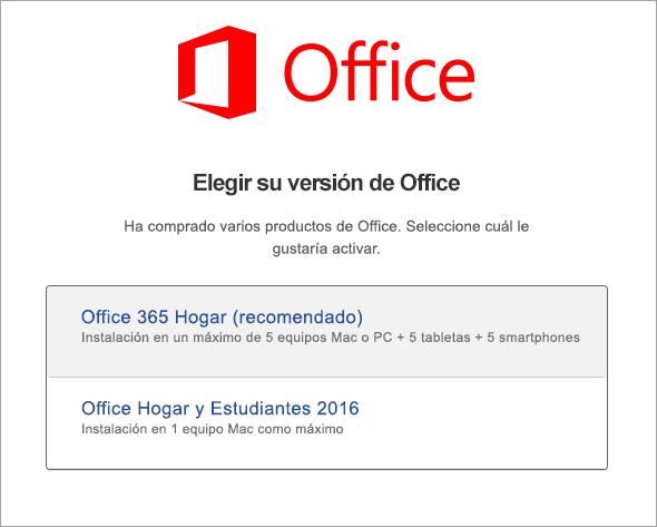 Elija el tipo de licencia de Office 2016 para Mac