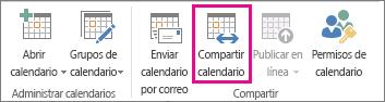 Botón Compartir calendario en la pestaña Inicio de Outlook 2013