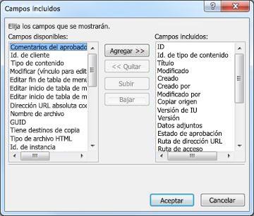Cuadro de diálogo Campos incluidos