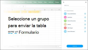 Captura de pantalla: Seleccionar un grupo para enviar la tabla