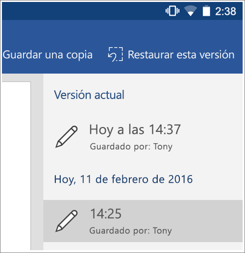 Captura de pantalla de la opción historial para restaurar versiones anteriores en Android.