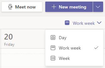 Seleccionar flecha abajo junto a Semana laboral en la parte superior derecha de la página