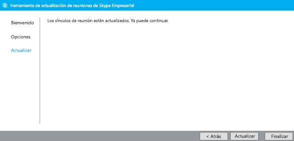Captura de pantalla de la herramienta de migración de reuniones actualizada