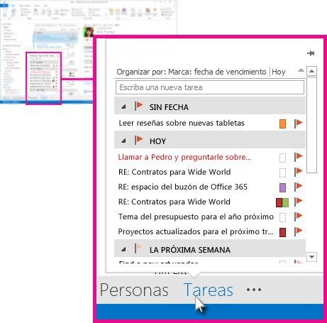 Información de tareas en la barra de navegación